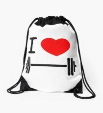 I love weights Drawstring Bag