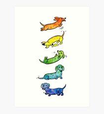 Watercolor Dachshunds Art Print