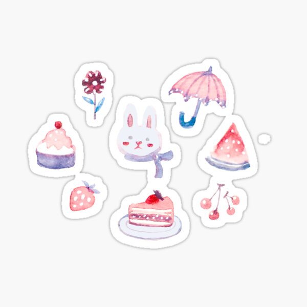 Bunny Dreaming of Pinks Sticker
