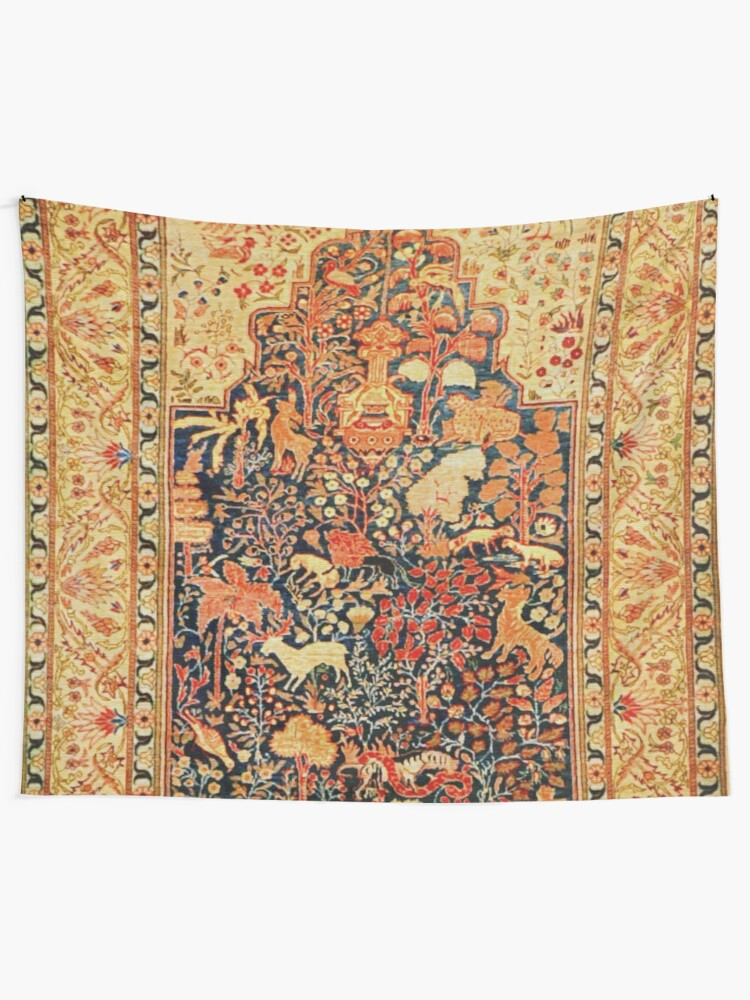 Antique Turkish Silk Rug Wall Tapestry