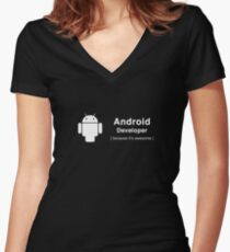 Android developer Women's Fitted V-Neck T-Shirt