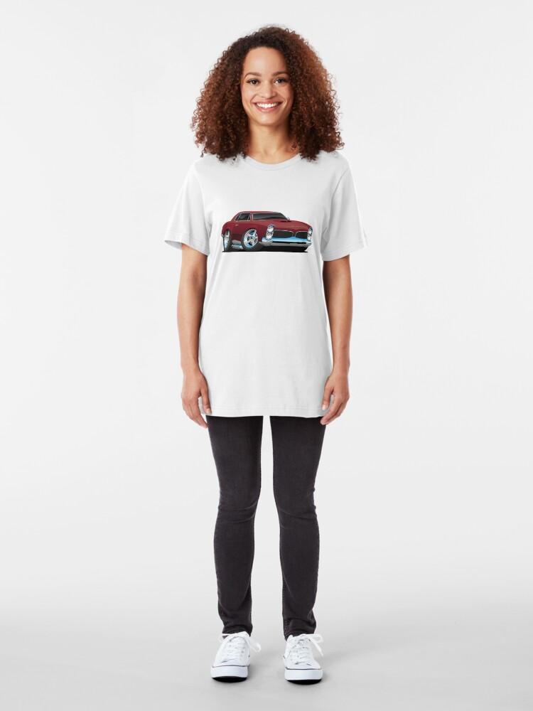 Alternate view of Classic American Muscle Car Cartoon Slim Fit T-Shirt
