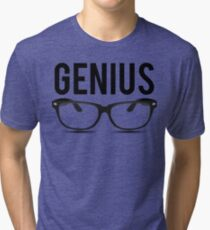 Genius Geek Glasses Nerd Smart Tri-blend T-Shirt