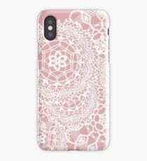 Delicate knitted lace of round doilies iPhone Case