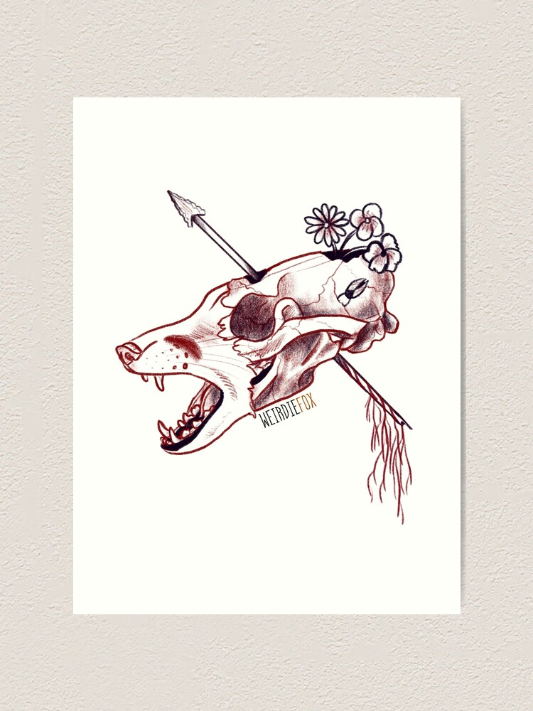 Fox Skull Drawing - Ink black and white drawing. - Solo ...