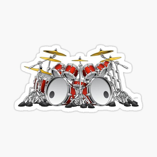 10 Piece Rock Drum Set Cartoon Sticker