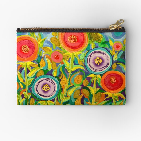 Mod Peach and Violet Peonies  Zipper Pouch