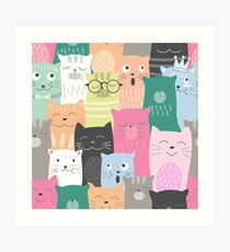 Cute funny cat cartoon Art Print