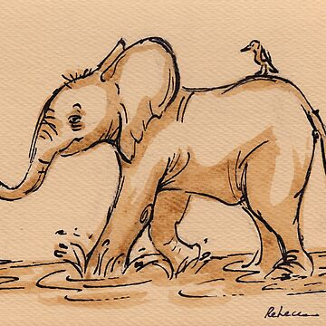Friends:  Baby Elephant & Friend Watercolor Painting #16 by tranquilwaters