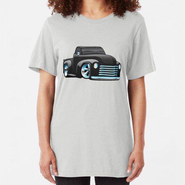 Hot Rod Pickup Truck Cartoon Slim Fit T-Shirt