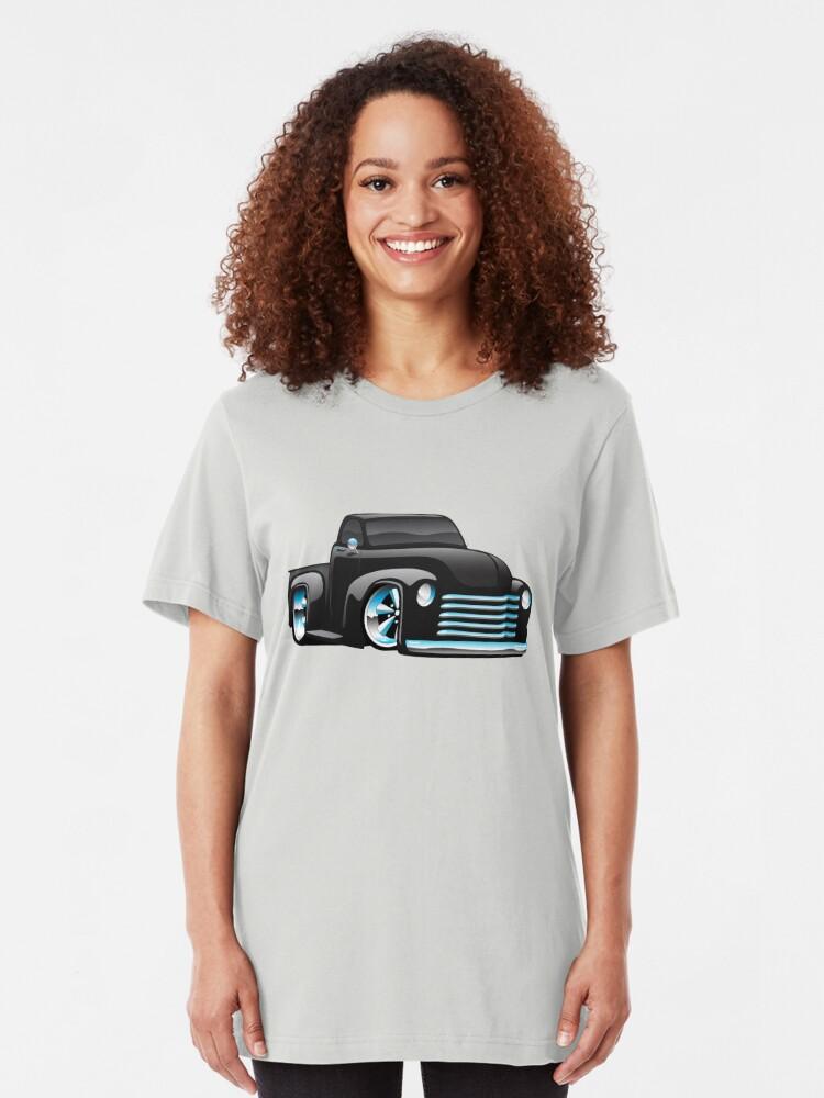 Alternate view of Hot Rod Pickup Truck Cartoon Slim Fit T-Shirt