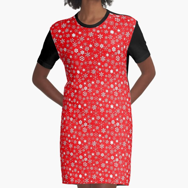 White Christmas Snow Storm Christmas Repeat Pattern on Christmas Red Graphic T-Shirt Dress