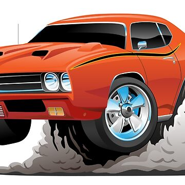 Classic American Muscle Car Cartoon by hobrath