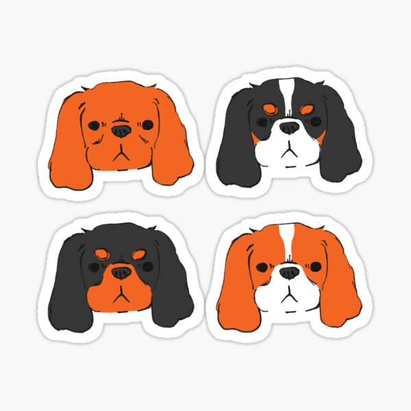 Cavalier King Charles Spaniel - Blenheim, Tri, Ruby, and Black and Tan Sticker