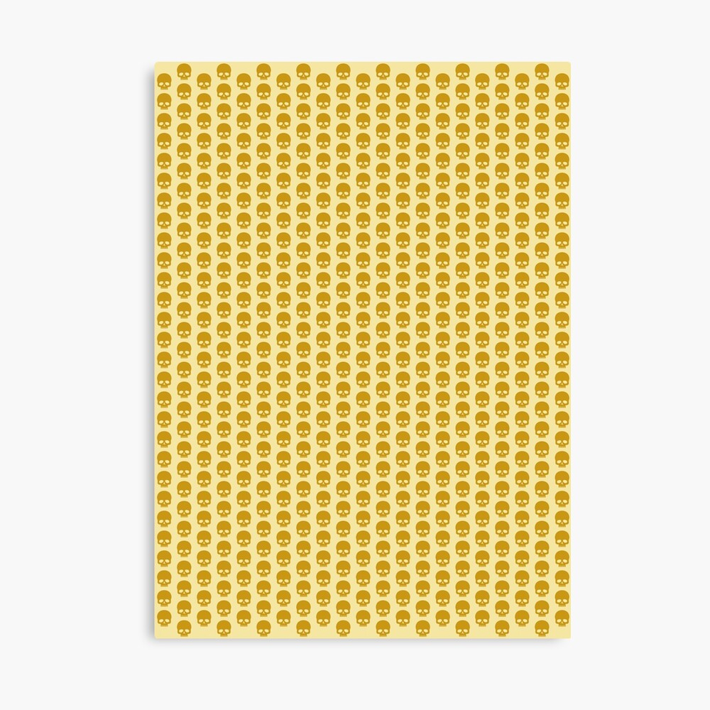 Totenkopfmuster in Goldfarben Leinwanddruck