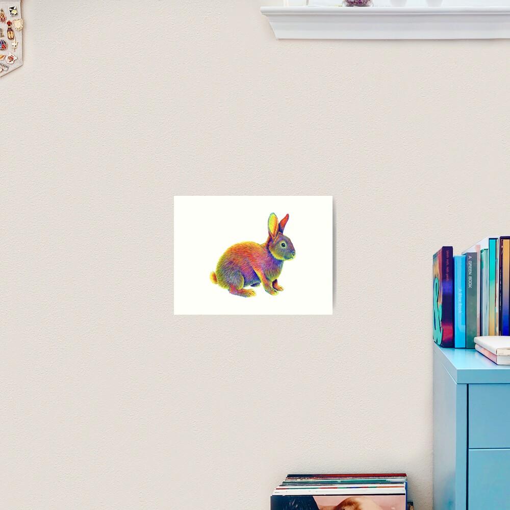Psychedelic Rainbow Bunny Rabbit Art Print
