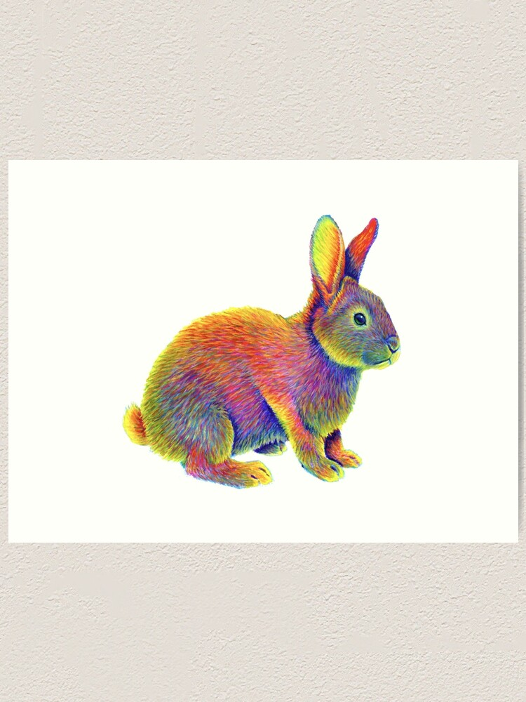 Alternate view of Psychedelic Rainbow Bunny Rabbit Art Print