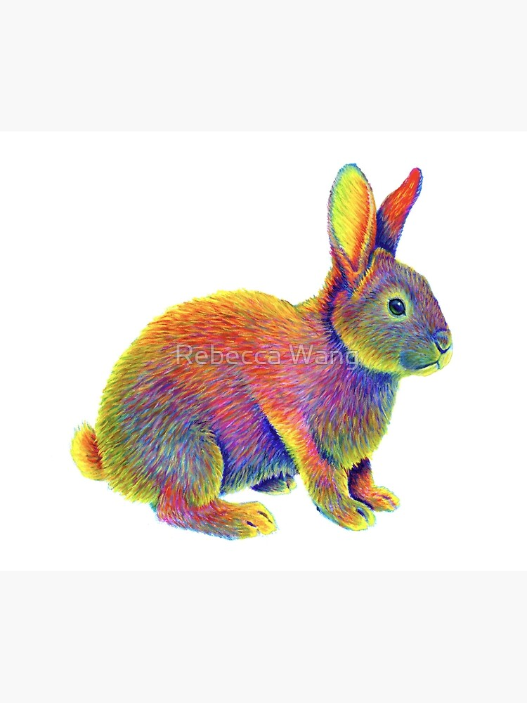 Psychedelic Rainbow Bunny Rabbit by lioncrusher