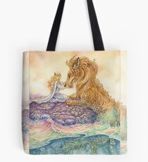 Strength Tarot Princess and Lion Serpent Tote Bag