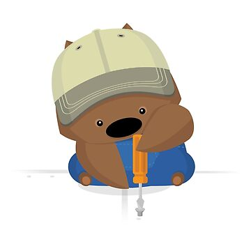 NPM: Wombat and screwdriver (White background) by hellkni9ht