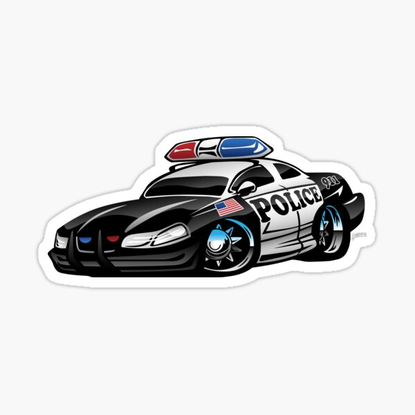 Police Muscle Car Cartoon Sticker