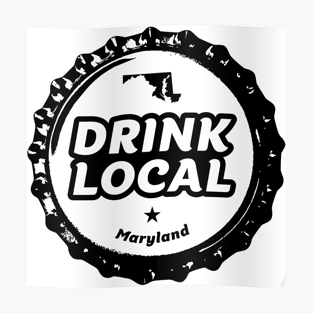 DRINK LOCAL FESTIVAL Beer STICKER Label with MARYLAND COLORS /& OUTLINE Baltimore