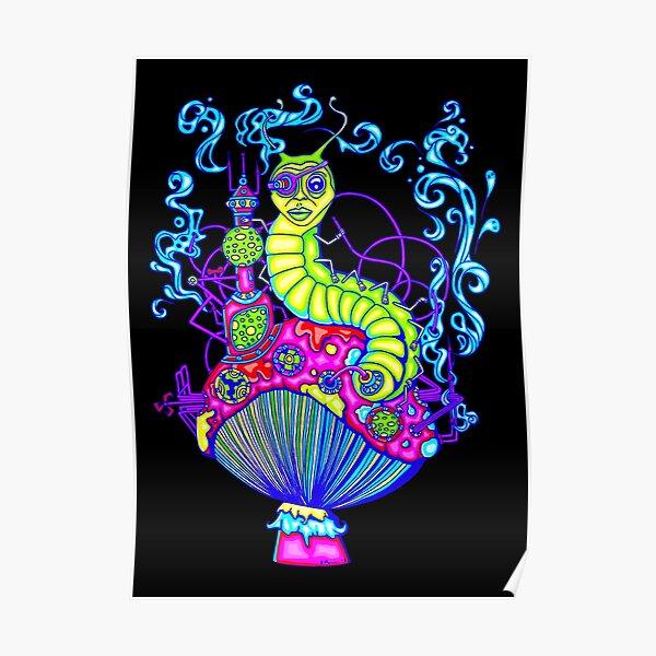 Hooka Smoking Caterpillar Glow Poster