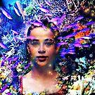 Mermaid, fish aqua coral reefs ocean life by Edgot Emily Dimov-Gottshall