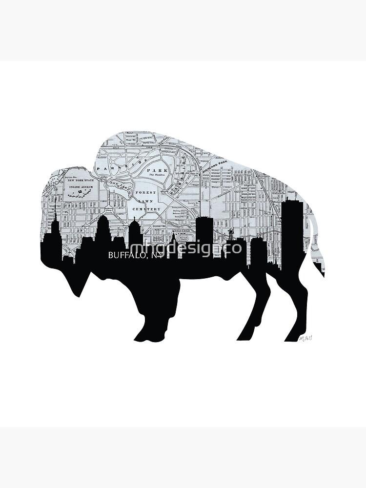 Buffalo, New York Map and Skyline, Grayscale by mhgdesignco