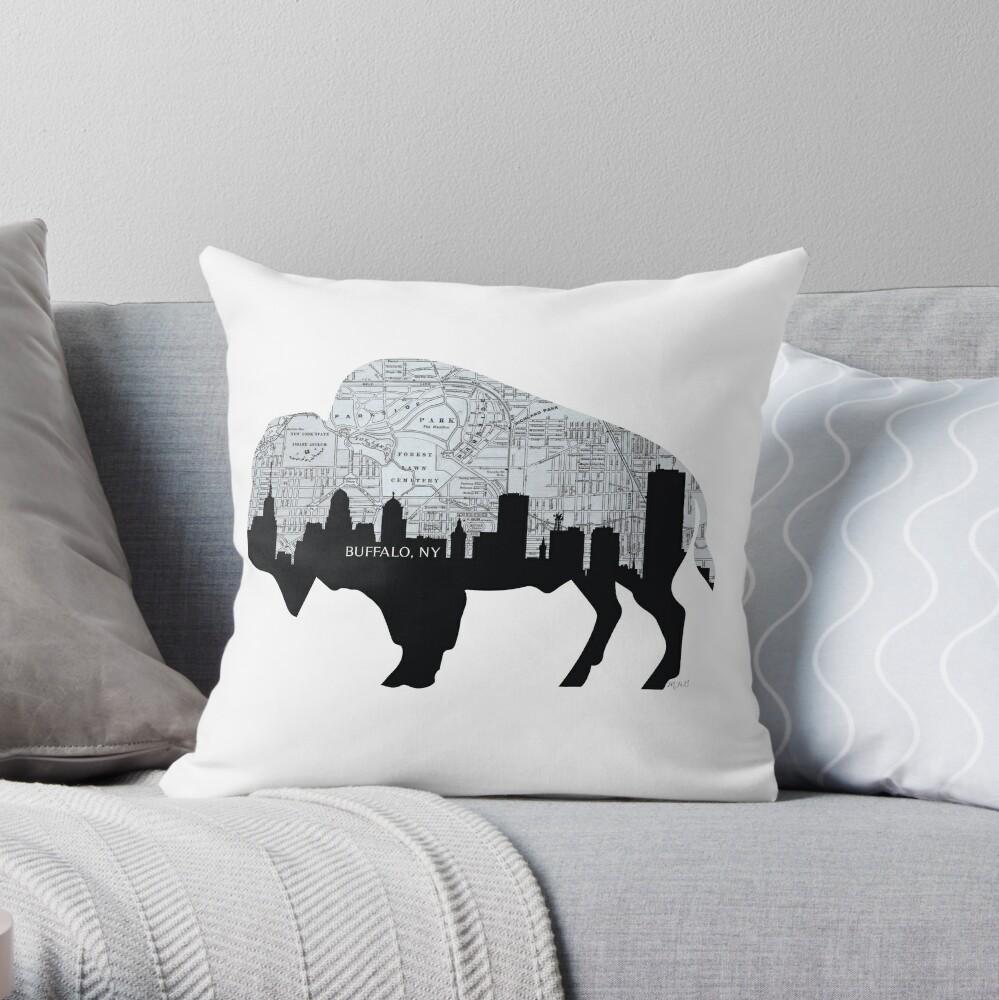 Buffalo, New York Map and Skyline, Grayscale Throw Pillow
