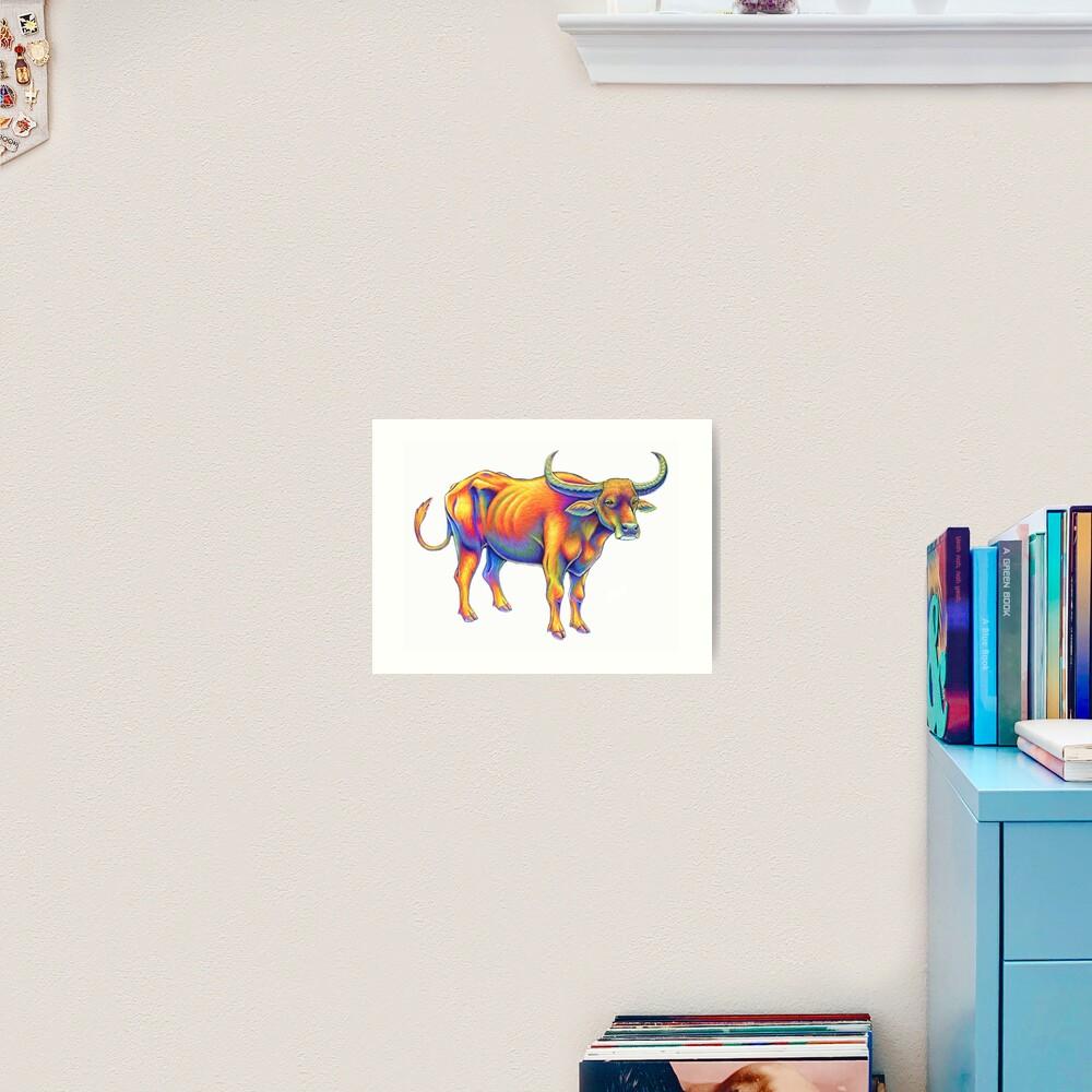 Psychedelic Rainbow Water Buffalo Ox Bull Art Print