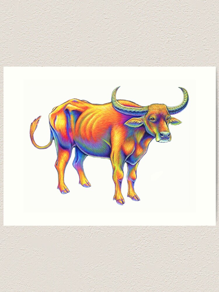 Alternate view of Psychedelic Rainbow Water Buffalo Ox Bull Art Print
