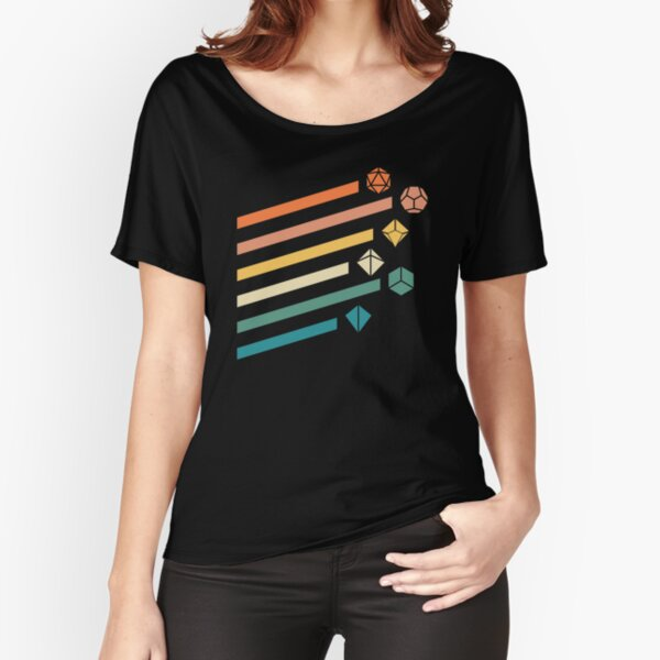 Retro Rainbow Polyhedral Dice Set Colors Tabletop RPG Relaxed Fit T-Shirt