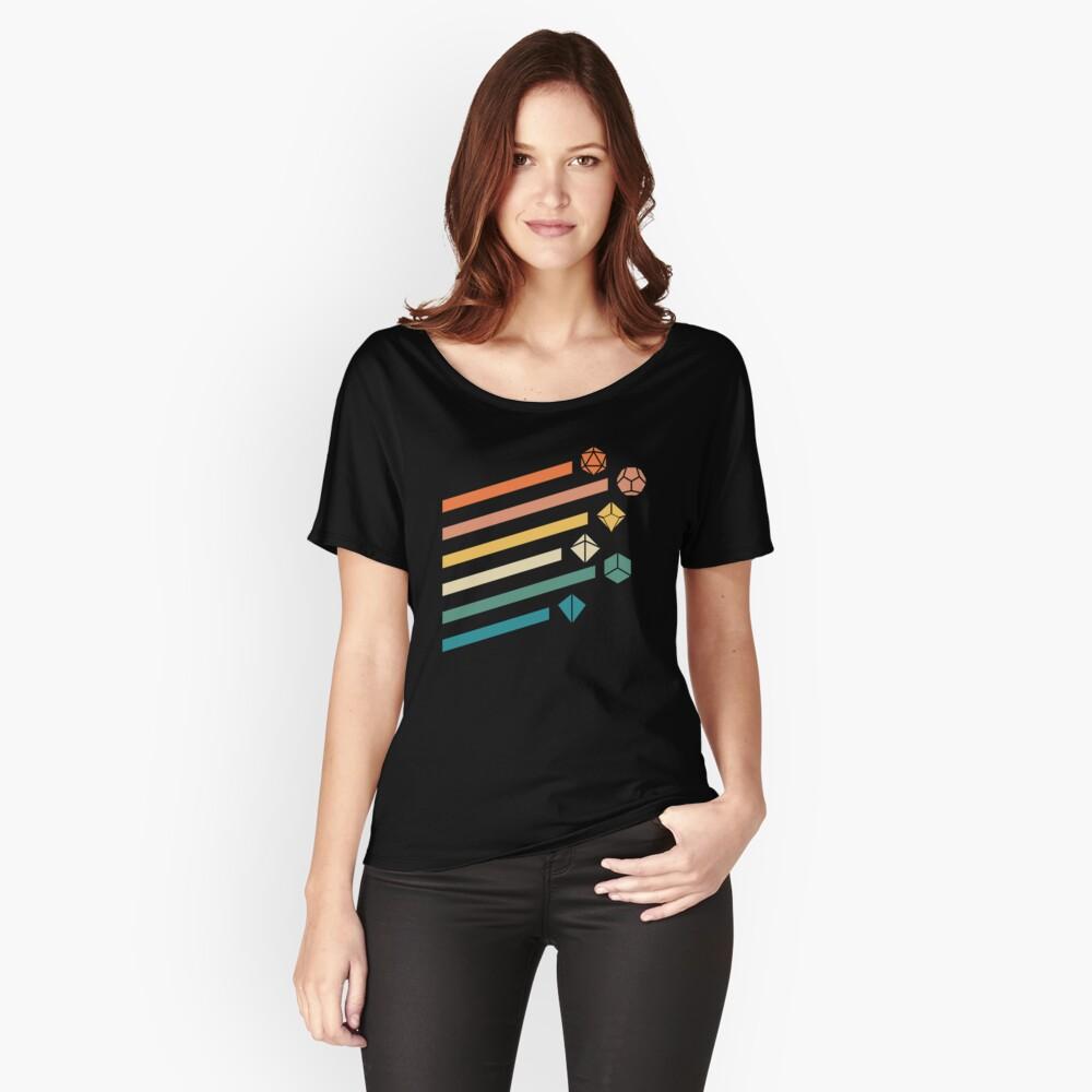 Retro Rainbow Polyhedral Dice Set Colors Juegos de rol de mesa Camiseta ancha