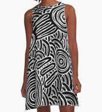 Aboriginal Art - Meeting Places B&W A-Line Dress