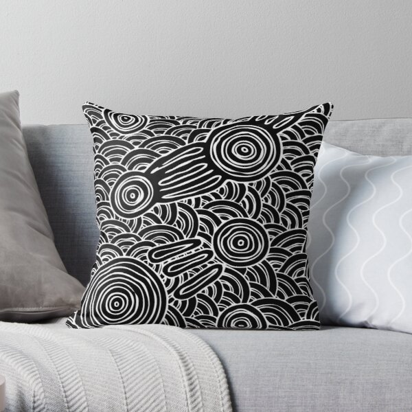 Authentic Aboriginal Art - Meeting Places B&W Throw Pillow