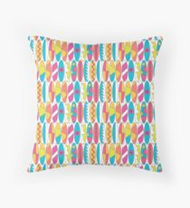 Rainbow Colored Waikiki Surfboards  Throw Pillow