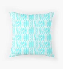 Aqua Blue Colored Waikiki Surfboards  Throw Pillow