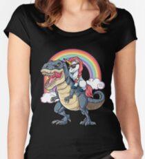 Unicorn Riding Dinosaur T-Rex T-Shirt Unicorns Rainbow Gifts Fitted Scoop T-Shirt