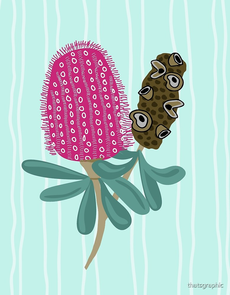 Whimsical Banksia Flower with Pod by thatsgraphic