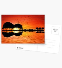 guitar island sunset Postcards