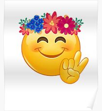 Hippie Flower Power Emoji with Peace Sign Poster
