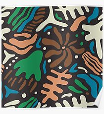 Abstract tropic leaves modern pattern Poster