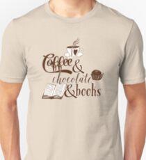 Ich liebe Kaffee und Schokolade und Bücher Slim Fit T-Shirt