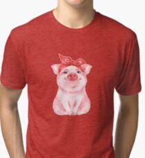 Piggy in red Tri-blend T-Shirt