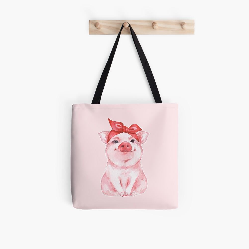 Piggy in red Tote Bag