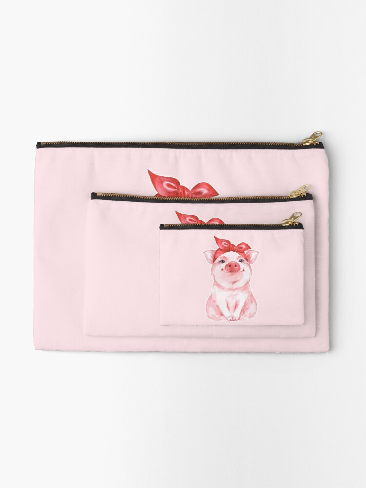 Alternate view of Piggy in red Zipper Pouch