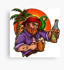 Pirate Enjoying Summer With Beer Canvas Print
