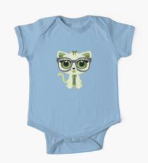 Kitten Nerd - Green One Piece - Short Sleeve