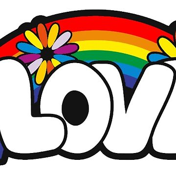 Love with a rainbow and flowers hippie style by headpossum
